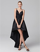 cheap Prom Dresses-A-Line / Princess Plunging Neck Asymmetrical Satin Little Black Dress Cocktail Party / Prom Dress with Pleats by TS Couture®