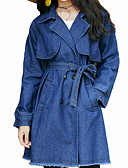 cheap Women's Denim Jackets-Women's Cotton Denim Jacket - Solid Colored Shirt Collar
