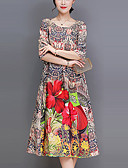 tanie Sukienki-Damskie Puszysta Wyjściowe Moda miejska Luźna Luźna Sukienka - Kwiaty, Nadruk Midi / Lato / Wzory kwiatów