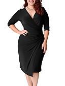 povoljno Ženske haljine-Žene Veći konfekcijski brojevi Osnovni Korice Haljina Jednobojni V izrez Do koljena Visoki struk