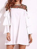 cheap Fashion Hats-Women's Plus Size Basic Cotton Loose Loose Dress - Solid Colored White / Summer / Flare Sleeve