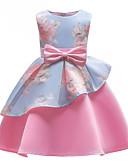 お買い得  女児 ドレス-子供 女の子 パーティー パーティー フラワー リボン / プリント ノースリーブ コットン / ポリエステル ドレス ピンク