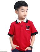 olcso Fiú felsők-Gyerekek Fiú Egyszerű Egyszínű Rövid ujjú Pamut Póló