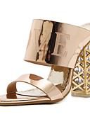 זול שמלות נשים-בגדי ריקוד נשים נעליים PU אביב / קיץ נוחות / בלרינה בייסיק סנדלים עקב עבה זהב / שחור / חום בהיר
