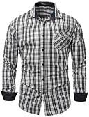 זול חולצות לגברים-משובץ סגנון רחוב חולצה - בגדי ריקוד גברים / שרוול ארוך