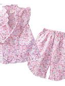 tanie Zestawy ubrań dla dziewczynek-Brzdąc Dla dziewczynek Cięte brzegi Codzienny Kwiaty Nadruk Bez rękawów Regularny Regularny Bawełna Komplet odzieży Rumiany róż 130