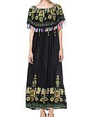 baratos Vestidos de Mulher-Mulheres Para Noite Moda de Rua balanço Vestido - Franzido, Floral Decote Canoa Longo Preto / Primavera / Verão