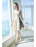 זול טישרט-צווארון V עד הברך קולור בלוק / צבע אחיד - שמלה נדן בסיסי / מתוחכם בגדי ריקוד נשים