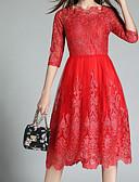 povoljno Ženske majice-Žene Osnovni Veći konfekcijski brojevi Hlače - Cvjetni print Čipka Crn / Puff rukav