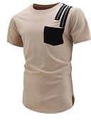 ieftine Tricou Bărbați-Bărbați Rotund Tricou Bloc Culoare / Manșon scurt
