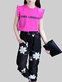 hesapli Kokteyl Elbiseleri-Genç Kız Günlük Çiçekli Kıyafet Seti, Suni İpek Polyester Yaz Kolsuz Actif Beyaz Fuşya