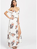 cheap Maxi Dresses-Women's Boho Loose Loose Dress - Floral White, Print Maxi Strap