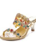 hesapli Egzotik Erkek İç Giyimi-Kadın's Ayakkabı Poliüretan Bahar / Yaz Moda Botlar Sandaletler Stiletto Topuk Açık Uçlu Parti ve Gece için Taşlı / Kristal / Işıltılı