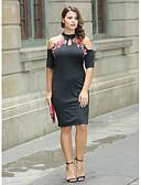 preiswerte Cocktailkleider-Damen Übergrössen Grundlegend Anspruchsvoll Bodycon Hülle Das kleine Schwarze Kleid Blumen Übers Knie Rundhalsausschnitt Schulterfrei