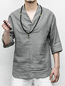 abordables T-shirts & Débardeurs Homme-Tee-shirt Homme, Couleur Pleine - Lin Chinoiserie Col en V Blanc XXXL / Eté