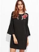 זול שמלות נשים-שחור מעל הברך פרחוני - שמלה משוחרר בסיסי בגדי ריקוד נשים / אביב / סתיו / רקמה