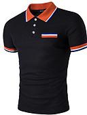 זול חולצות פולו לגברים-אחיד צווארון חולצה סגנון רחוב Polo - בגדי ריקוד גברים / שרוולים קצרים