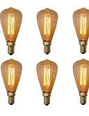billige Bryllupskjoler-6pcs 40W E14 ST48 Varm hvit 2200-2700 K Kontor / Bedrift Mulighet for demping Dekorativ Glødende Vintage Edison lyspære 220V-240V V