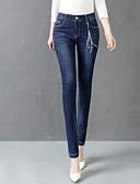 tanie Damskie spodnie-Damskie Bawełna Rurki Jeansy Spodnie - Solidne kolory Podstawowy Niebieski