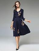 זול שמלות נשים-צווארון V מידי רקום, פרחוני - שמלה גזרת A רזה סגנון רחוב בגדי ריקוד נשים