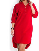 cheap Women's Dresses-Women's Plus Size Basic Cotton Slim Shirt Dress - Solid Colored Red V Neck / Shirt Collar / Spring / Summer