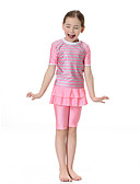 billige Badeklær til jenter-Barn Jente Bohem Sport Fargeblokk Klassisk Stil Kort Erme Polyester / Nylon / Spandex Badetøy Rosa