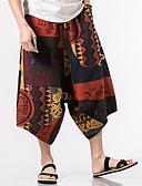 ieftine Pantaloni Bărbați si Pantaloni Scurți-Bărbați Boho Picior Larg Pantaloni Bloc Culoare