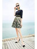 זול שמלות נשים-דפוס, פרחוני - שמלה שחורה וקטנה סגנון סיני בגדי ריקוד נשים