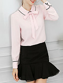 cheap Women's Blouses-Women's Basic Puff Sleeve Loose Blouse - Solid Colored / Striped Shirt Collar