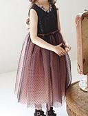 お買い得  女児 ドレス-幼児 女の子 シンプル 日常 水玉 / 波点 ノースリーブ ナイロン ドレス ブラウン