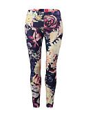 tanie Getry-Damskie Sportowy / Podstawowy Legging - Kwiaty / Kolorowy blok, Nadruk Średni Talia / Lato / Sportowy look / Wzory kwiatów