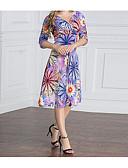 baratos Vestidos Femininos-Mulheres Tamanhos Grandes Feriado / Para Noite Boho / Moda de Rua Evasê Vestido - Estampado, Floral Decote V Cintura Alta Altura dos Joelhos / Verão