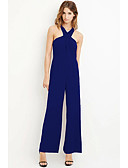 cheap Women's Jumpsuits & Rompers-Women's Wide Leg Daily Halter Neck Blue Black Red Romper, Solid Colored Basic L XL XXL High Waist Sleeveless Spring Summer