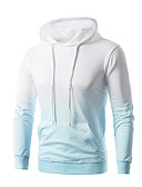 cheap Men's Hoodies & Sweatshirts-Men's Basic Long Sleeve Hoodie - Color Block Hooded Orange XXXL / Winter