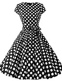 halpa Naisten mekot-Naisten Pluskoko Perus Puhvihiha Tuppi Mekko - Polka Dot, Painettu Polvipituinen / Kevät