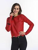 זול סוודרים לנשים-כותנה צבע אחיד - סוודר שרוול ארוך חגים בגדי ריקוד נשים / אביב