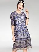 זול שמלות נשים-עד הברך גיאומטרי - שמלה ישרה בסיסי בגדי ריקוד נשים