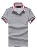 levne Pánská polo trika-Pánské - Proužky Barevné bloky Práce Polo, Patchwork Bavlna Košilový límec Štíhlý