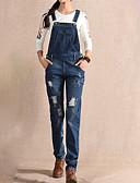tanie Damskie spodnie-Damskie Bawełna Jeansy / Kombinezon Spodnie - Otwór, Solidne kolory