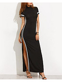 cheap Wedding Dresses-Women's Party / Club Slim Bodycon / Little Black Dress - Color Block Black, Patchwork Maxi
