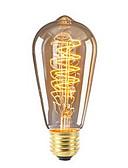 billige Blomsterpikekjoler-1pc 40W E26/E27 ST64 Varm hvit 2200-2700 K Kontor / Bedrift Mulighet for demping Dekorativ Glødende Vintage Edison lyspære 220V-240V