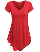 cheap Women's T-shirts-Women's T-shirt - Solid Colored V Neck / Summer