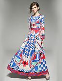 tanie Suknie i sukienki damskie-Damskie Wyjściowe Podstawowy Flare rękawem Linia A Sukienka - Geometric Shape, Nadruk Maxi