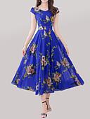 baratos Vestidos de Mulher-Mulheres Tamanhos Grandes Boho Evasê Vestido - Estampado, Geométrica Decote V Longo / Verão