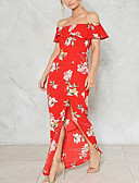 cheap Women's Dresses-Women's Slim Sheath Dress - Floral Maxi Boat Neck