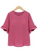 baratos Blusas Femininas-Mulheres Tamanhos Grandes Blusa Moda de Rua Sólido / Primavera / Verão