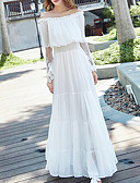 cheap Women's Dresses-Women's Loose Dress - Solid Colored White High Rise Maxi Boat Neck