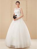 preiswerte Hochzeitskleider-Ballkleid U-Ausschnitt Boden-Länge Perlen-Spitze Maßgeschneiderte Brautkleider mit Perlenstickerei / Applikationen durch LAN TING BRIDE®