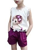 Χαμηλού Κόστους Σετ ρούχων για κορίτσια-Παιδιά Κοριτσίστικα Καθημερινά Στάμπα Στάμπα Κοντομάνικο Κανονικό Κανονικό Βαμβάκι Σετ Ρούχων Ανθισμένο Ροζ / Χαριτωμένο