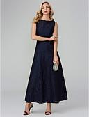 billige Ballkjoler-A-linje Båthals Ankellang Bomull / Mikado Skoleball Kjole med Blonder av TS Couture®